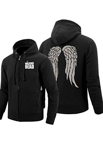 Valecos Walking Dead Unisex Cosplay Daryl¡¤Dixion Wings Zip Hoodie Black Coat
