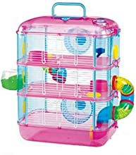 Jaula de hámster neón Leo 3apartamento ratón), diseño rústico, color rosa y azul