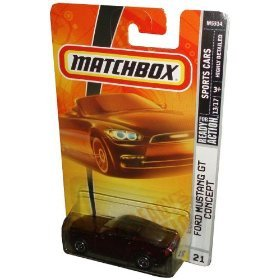 Mattel Matchbox 2007 MBX Sport Cars 1:64 Scale Die Cast Metal Car # 21 - Dark Maroon Luxury Sport Coupe Ford Mustang GT Concept - 1