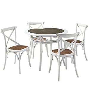 LexMod Gear Rustic Country Wooden Chair and Table Dining Set, White