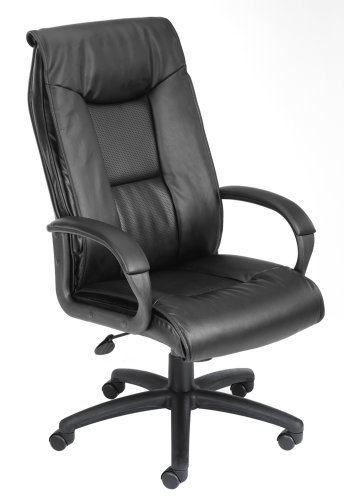 Boss  Executive Leather Plus Chair Black Executive Seating