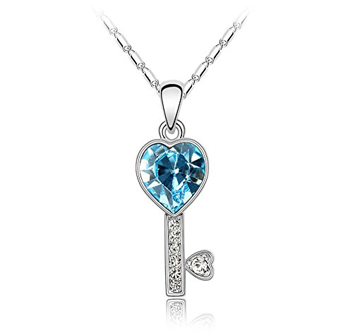UFINGO SCHMUCK Damen Herz Kristall Schlüsselanhänger Halskette, mit SWAROVSKI ELEMENTS Kristall, Weißes Gold Überzogen, Kettenlänge 40cm + 5cm (Ausgedehnte Kette), Schönes Geschenk für Frauen und Mädchen, Ozeanblau