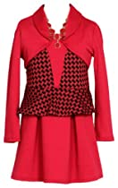 Wonder Girl Just Kids Houndstooth Peplum Dress Set 14 Red
