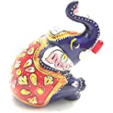 "2"" Craft Rajasthani Handicraft Traditional Cast Marble Sitting Elephant Figurine Featuring Meenakari Art Work"
