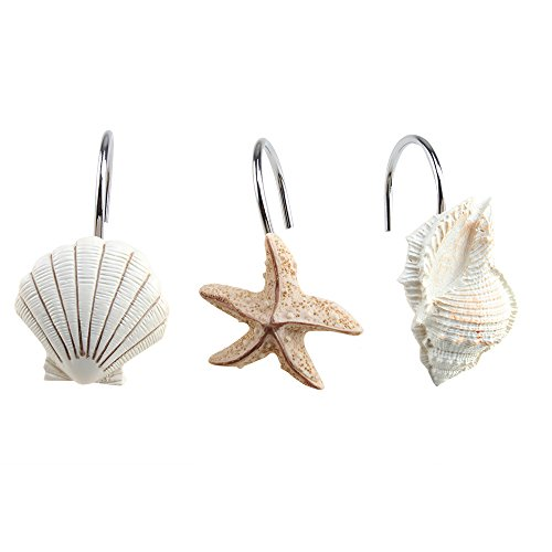 AGPtek® 12 PCS Fashion Decorative Home Bathroom Seashell Shower Curtain Hooks (Seashell: Light Brown; Starfish: Tan; Conch: Light Brown) (Beach Shower compare prices)