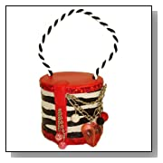 Zebra Print Red Princess Purse with Charms and Beads Christmas Ornament #H3839