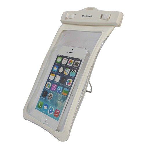オウルテック 防水ケース iPhone6/6Plus等 スマートフォン対応 クリップスタンド機能 ネックストラップ付 ホワイト OWL-MAWP09WH