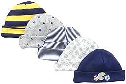 Gerber Baby Boys\' 5 Pack Caps, Sports Blue, Newborn