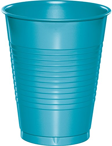 Creative Converting 28103981 20 Count Touch of Color Plastic Cups, 16 oz, Bermuda Blue