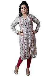 Kittus Fashion House Women's Cotton Straight Kurti (Kskrt-1103_Off White_Xx-Large)