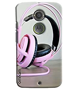 Omnam Pink Headphones Lying On Table Printed Designer Back Cover Case For Moto X2
