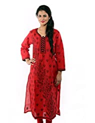 Ada Hand Embroidered Ethnic Casual Red Cotton Lucknowi Chikan Kurti A68826