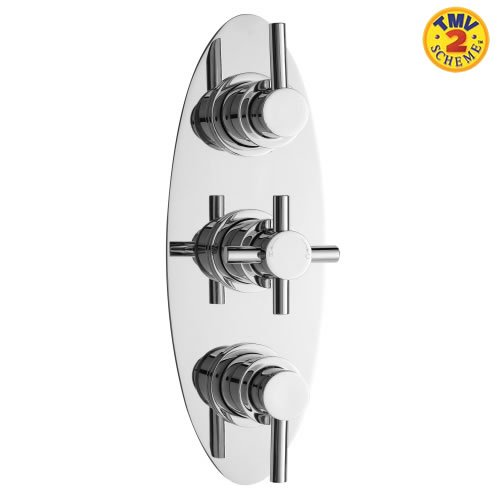 Concealed Thermostatic Triple Bathroom Shower Valve 2 Outlet Options Modern Chrome Finish