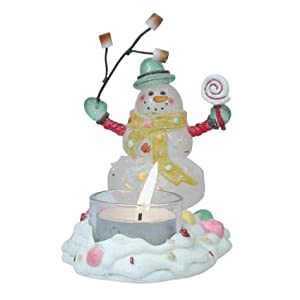 Snowman Barbequeing Marshmallows Tealight Holder by Westland Giftware