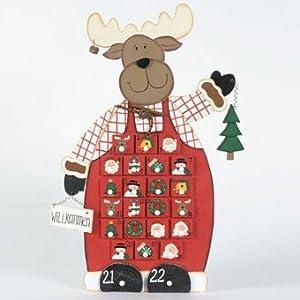 Adventskalender Elch mit 24 kleinen Schubladen, Holz, handbemalt, 60cm Kundenbewertung: