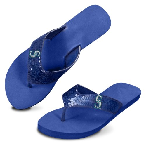 MLB Seattle Mariners Women's Team Color Flip Flops, White/Navy, Medium/9-10 at Amazon.com