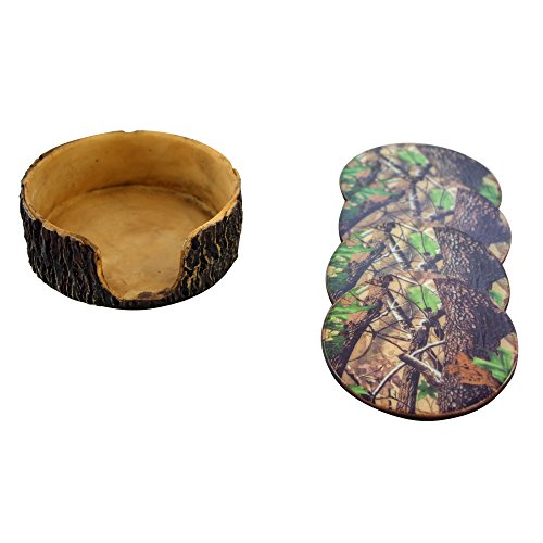 Man Cave Chairs With Cup Holder : Green camouflage pc coaster set and tree trunk holder