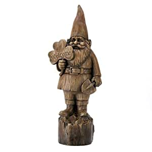 Gifts & Decor Rustic Faux Wood Folk Art Welcome Gnome Garden Statue (Discontinued by Manufacturer)