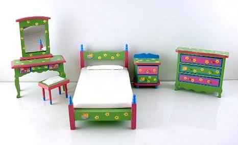 Maison de Poupée Miniature en Bois Chambre Fille Déco Papillon Ensemble Meubles