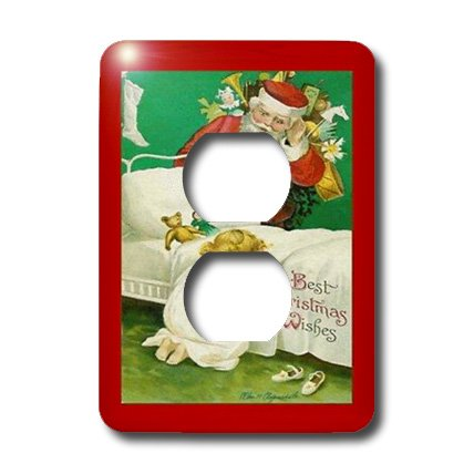 Sandy Mertens Vintage Christmas Designs – Vintage Child Praying With Santa – Light Switch Covers – 2 plug outlet cover