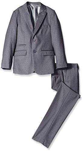 Isaac Mizrahi Big Boys Pearl Plaid 2 Piece Suit, Gray, 12
