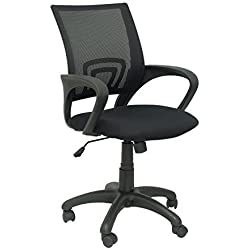 PIQUERAS Y CRESPO Model 312 - Ergonomic office chair with tilt mechanism and adjustable in height - Mesh backrest and seat upholstered in fabric ARAN black color by Piqueras y Crespo