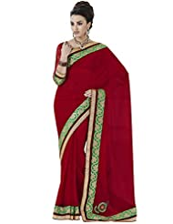 Beautiful Georgette Red Saree With Blouse