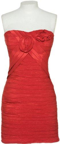 ROMEO & JULIET COUTURE Stretch Sleeveless Pleat & Rosette Dress[RJDY2359] RED, Medium