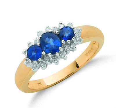 J R Jewellery 416621 9ct Yellow Gold Real Sapphire Trilogy Ring With Diamond 1.08CTW