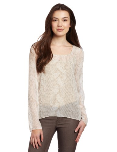 Kensie Women's Cable Knit Chiffon Top, Birch Multi, Small