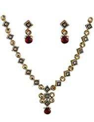Anuradha Art Golden-Green Kundan Jewellery Set For Women