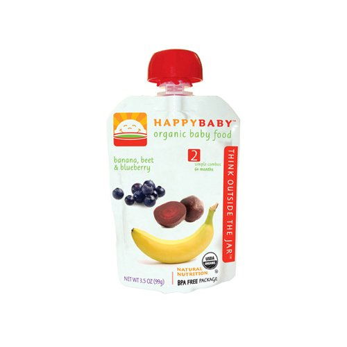Happy Baby Organic Baby Food Stage 2 Banana Beets and Bluebe - 1
