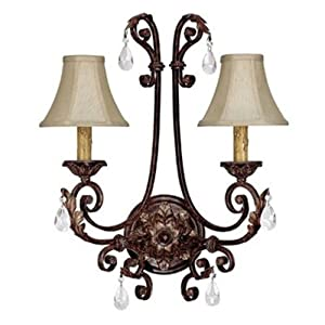 Capital Lighting 1612CB-413-CR Sheffield Collection 2-Light Wall Sconce, Chesterfield Brown Finish with Beige Fabric Shades
