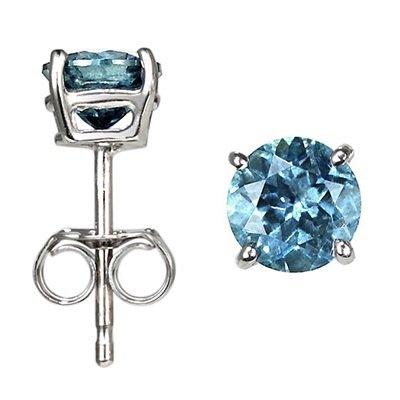 14K Gold, Round, Blue Diamond Stud Earrings