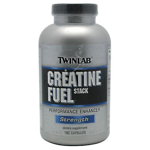 TwinLab Creatine Fuel Stack Performance Enhancer, Strength, Capsules, 180-Count Bottle