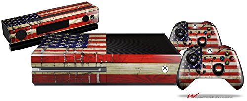 Painted Faded and Cracked USA American Flag - Holiday Bundle Decal Style Skin Set fits XBOX One Console, Kinect and 2 Controllers (XBOX SYSTEM SOLD SEPARATELY)