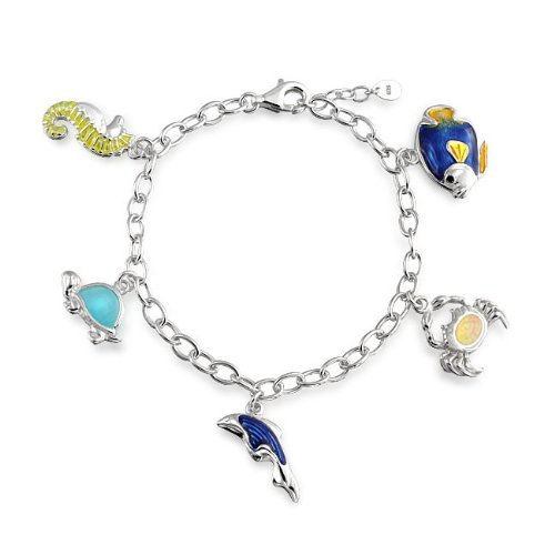 Bling Jewelry 925 Silver Pink Opal Sealife Nautical Charm Bracelet 7.5in