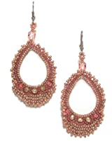 Just Give Me Jewels Handcrafted Argola Salmon Beaded Dangle Earrings
