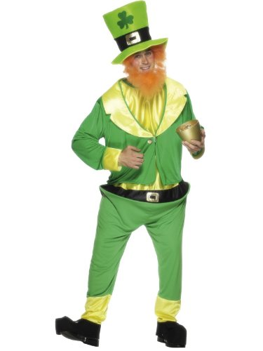 Green Leprechaun Suit & Red Beard Costume St Patrick's Adult