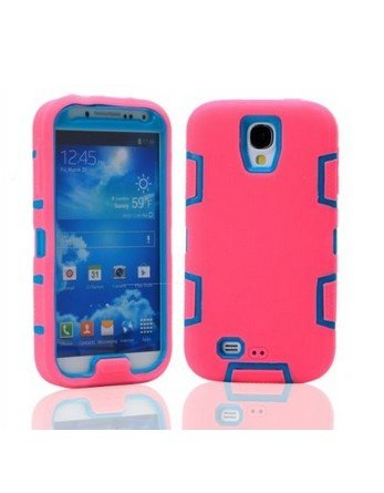 Noarks ® 3In1 Robot Combo Hard Soft High Impact Armor Case Skin Gel For Samsung Galaxy S4 Iv I9500 (Hot Pink Blue) front-622767