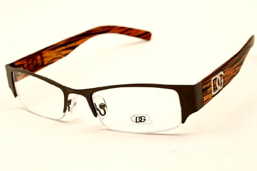 D886cl Dg Eyewear Fashion Wayfarer Sunglasses Clear Lens Eyeglasses (Gunmetal/wood Brown, Clear)