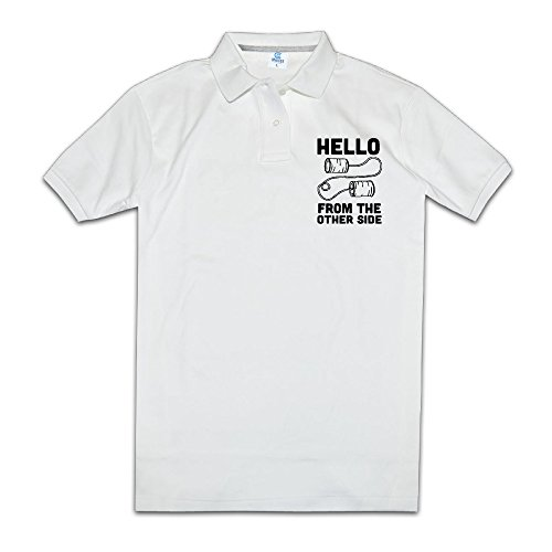 Hello From The Other Side Men Polo Style L White (Penguin Man From Batman)