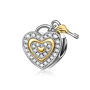 NinaQueen® **Love You Forever** 925 Sterling Silver Cubic Zirconia Lock Key Love Dangle Lightning Deal Heart Shape Design Charms Fits Pandora Bracelets *Ideal Gift for wife, girlfriend, families and friends on Birthday, Anniversary, Thanksgiving Day and Christmas Day*