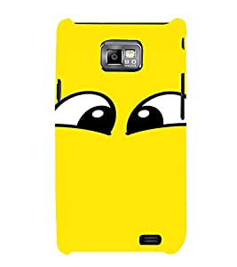 PrintVisa Cartoon Eyes Emotion 3D Hard Polycarbonate Designer Back Case Cover for Samsung Galaxy S2