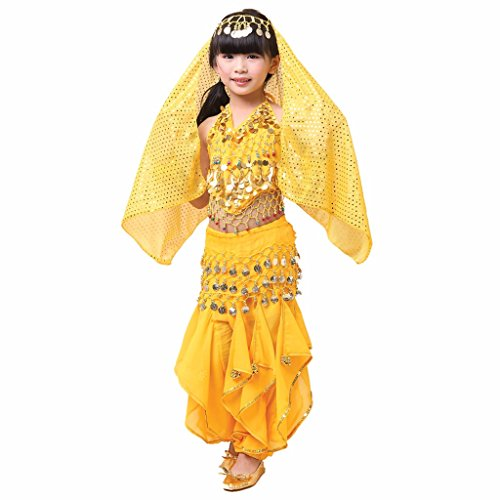 Pilot-trade Kid Girl Belly Dance Costume Harem Pants Halter Top Hip Scarf Veil Sets