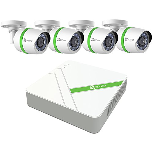 EZVIZ HD 1080p Video Security System, 4 Weatherproof Cameras, 100ft