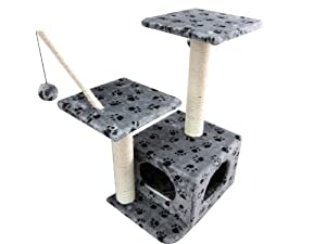 Easipet Cat Tree 257 with Paw Print, Grey