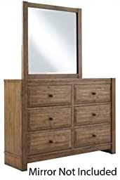 Ashley B59521 Brinaella Dresser with 6 Drawers Bronze Color Wrought Looking Hardware Dovetail Drawer COnstruction and Ball Bearing Grawer Guides in Light Brown