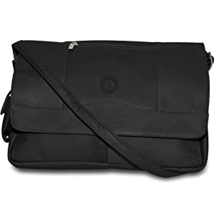 MLB Black Leather Laptop Messenger Bag by Pangea Brands