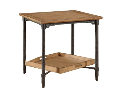 Trend Broyhill Ember Grove Ash Veneers Removable Tray End Table Weathered Khaki Finish